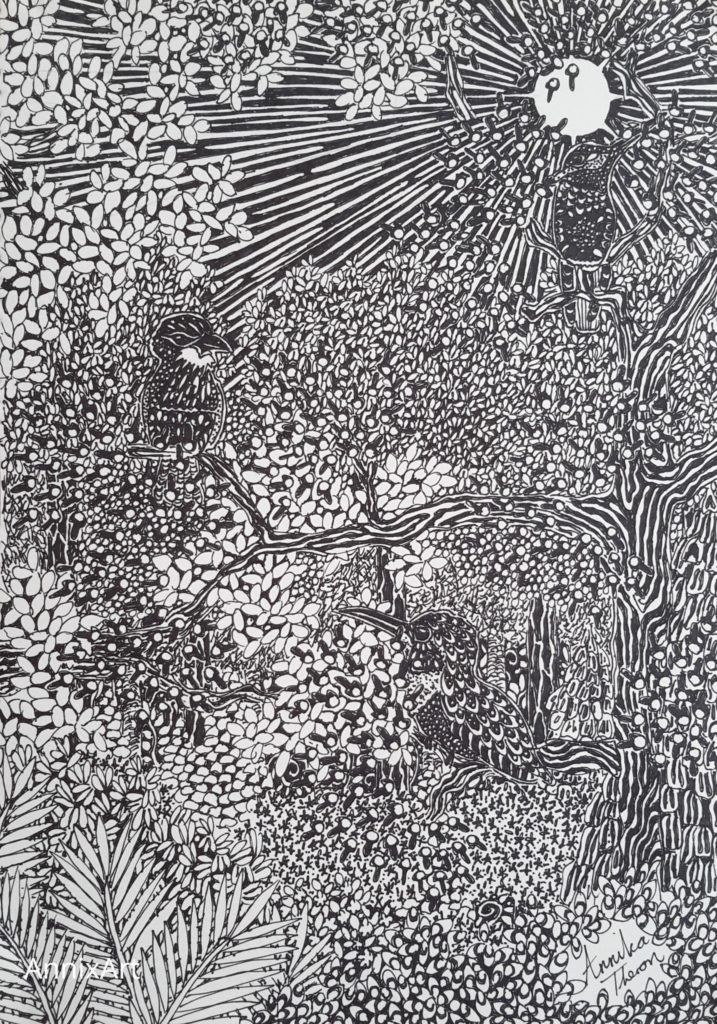 Detailed black and white drawing of humming birds. Sun shining through forest trees illustration. Art by AnnixArt.