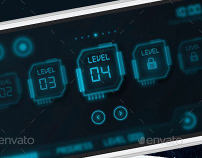 This set of screens provides you with the most vital elements you need for a sci-fi (Science fiction) game and or for a futuristic design of user interface.