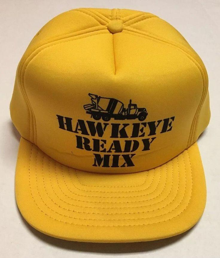 Vtg Hawkeye Ready Mix Trucker Hat Coralville Iowa IA Cap Concrete Construction #SanSun #TruckerHat