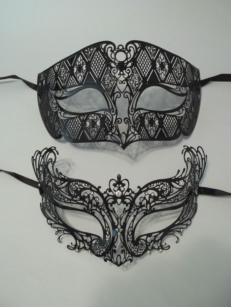 Black Laser Cut Venetian Masquerade Metal Filigree Mask Men Woman Combo Set | eBay