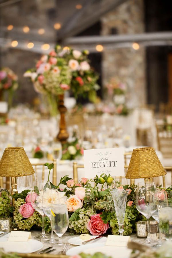 Floral table runner and small woven lamps (Pepper Nix Photography)