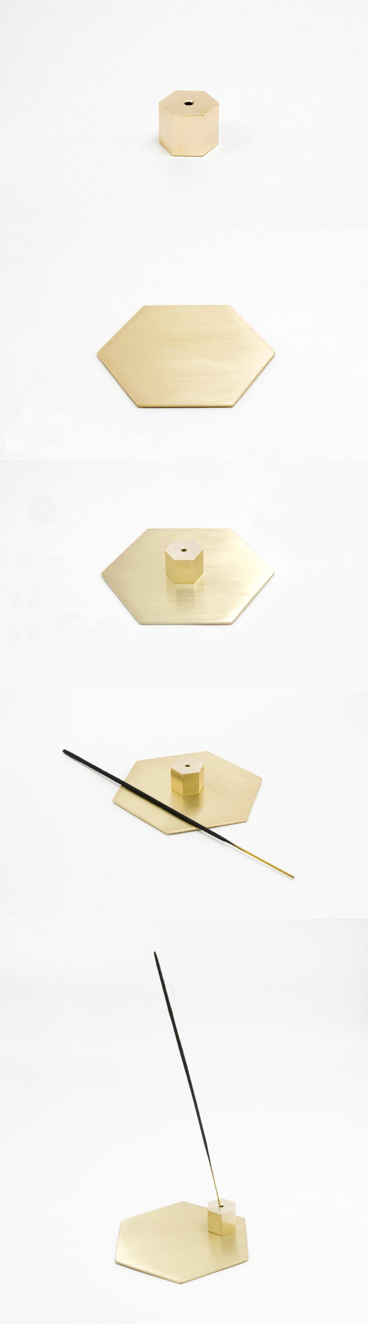 BRASS INCENSE HOLDER & COASTER SET(HEXAGON)
