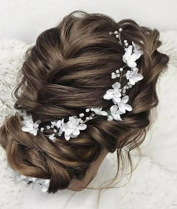 Floral Bridal Headband Flower Bridal Tiara Headband White Flower Hair Bridesmaid Wedding Accessories Hair Piece Floral Bridal Headpiece Floral Bridal Headbands Long Hair Styles Flowers In Hair