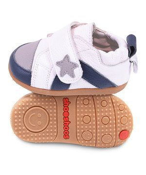 Another great find on #zulily! Shooshoos White & Navy Star Sneaker by Shooshoos #zulilyfinds
