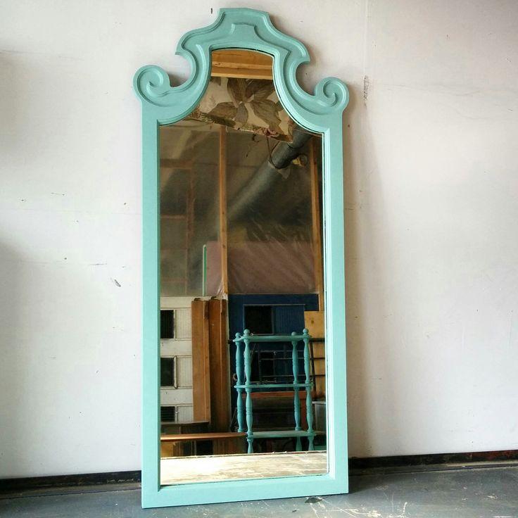 vintage wood miroir turquoise miroir en bois rehauss chalk paint cr ation mixxy design