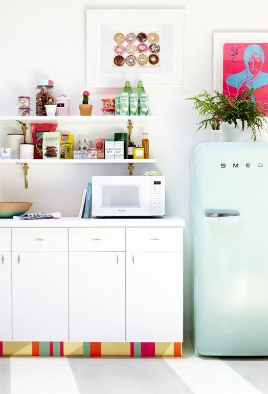 Love shelf brackets. WANT the peppermint fridge. Change door handles to update cupboards.