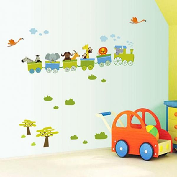 New Removable Sticker Animal Roller Style Wall Stickers For Nursery Boy Kids Baby Room Decor Vinyl Art Decal