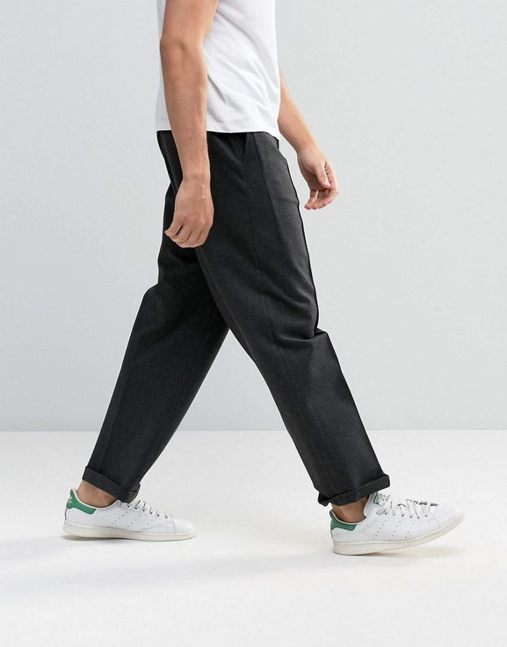 ASOS Charcoal Wide Leg Jersey Trousers