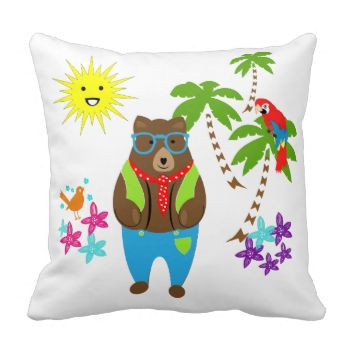 Such a fun and colorful kids room novelty accessory with cute teddy bear all dressed up on his tropical Summer vacation. palm trees, exotic birds flowers and a smiley faced sunshine. A cute, happy and cheerful design kids will adore.