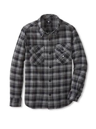 68% OFF DC Boy's Chozen Long Sleeve Button-Up (Black Plaid)