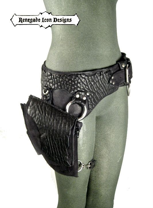 Black Leather Hip Bag Utility Belt By Renegade Icon Designs