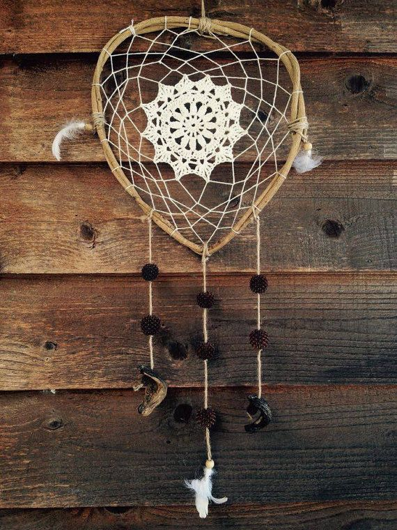 RusticLight Crochet Dreamcatcher by FlowingBuenaVida on Etsy