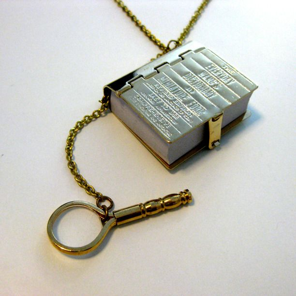 Book Worm Dictionary Necklace: Miniature Dictionary, Book Worms, Worm Dictionary, Spelling Fanatics, Operational Miniature, Bookworm, Solid Brass, Dictionary Necklace