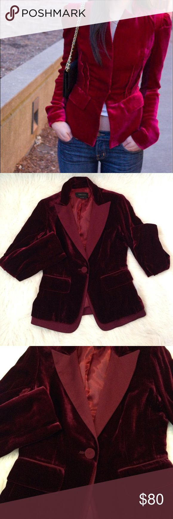 BCBGMaxazria red velvet blazer Rich and lux velvet deep red blazer. Everything about it is in perfect condition except last photo, just a tiny faint sleeve on the left outside of the cuff. BCBGMaxAzria Jackets & Coats Blazers