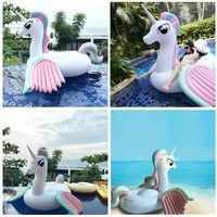 Wish | Inflatable Unicorn Pool Float with Rapid Valves Summer Outdoor Swimming Pool Party  Ship from FR