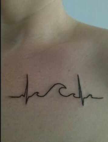 wave heart monitor tattoo, derived from passion for the ocean.
