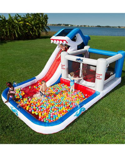 Blast Zone 'Shark Park' Wet & Dry Play Park - A Shark Slide, Pool, Ball Pit, and BOUNCE HOUSE!    I think a certain little shark lover would go nuts for this.