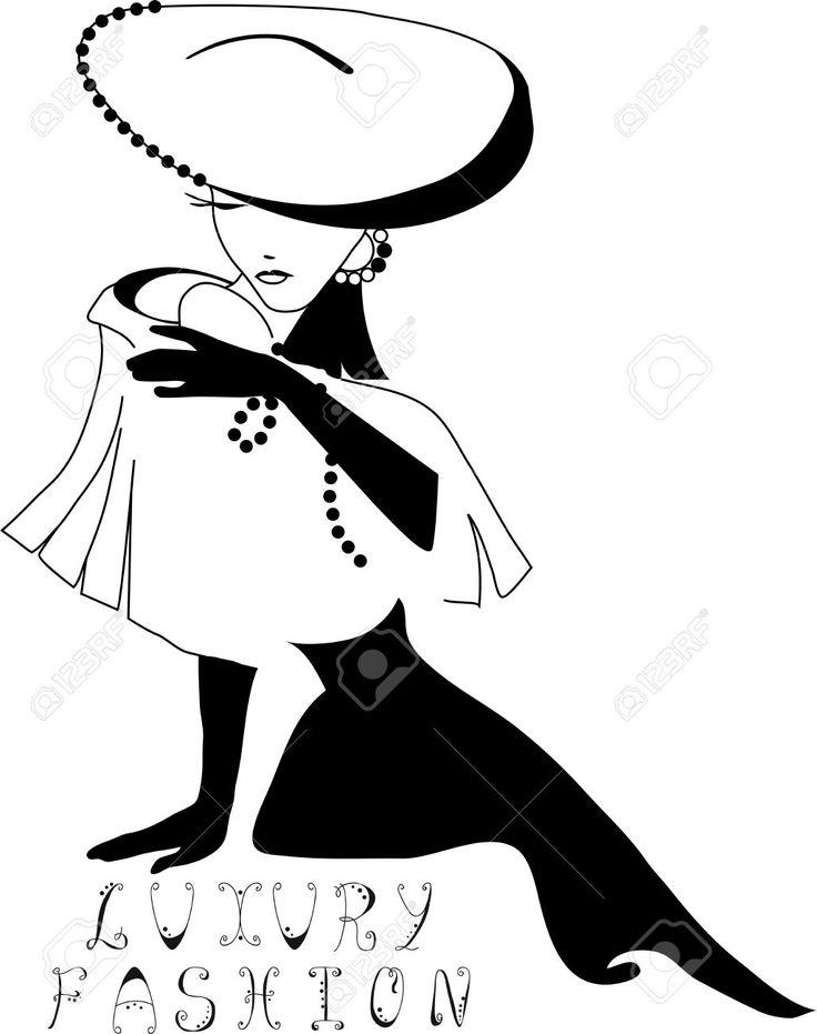 Hermosa Silueta Vendimia De La Mujer Con Un Sombrero Grande Ilustraciones Vectoriales, Clip Art Vectorizado Libre De Derechos. Image 26078974.