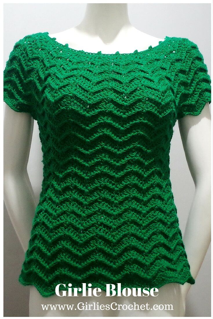 Free Crochet Pattern for Girlie Blouse in chevron design, with photo tutorial in each step.