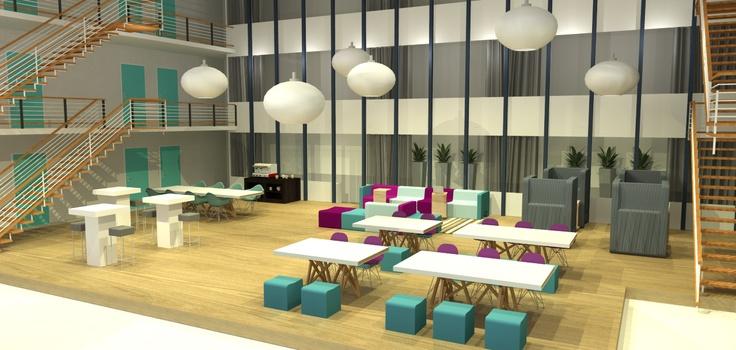 interieurontwerp gezamenlijk bedrijfsrestaurant. Ontworpen door DE KROON interieurvormgeving