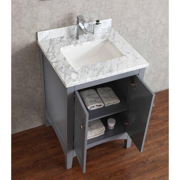 Martin 24 Solid Wood Single Bathroom Vanity In Charcoal Grey
