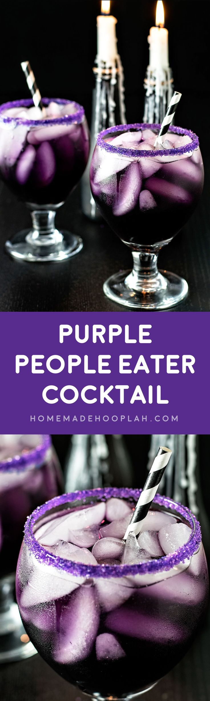 Purple People Eater Cocktail! A tasty (and creepy!) cocktail that gets its purple hue from blue curacao, grenadine, and cranberry juice. A perfectly purple cocktail for any party!   HomemadeHooplah.com