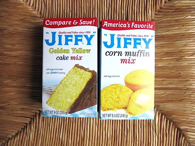 """Best cornbread ever! Uses one small box of Jiffy Yellow Cake Mix AND one small box Jiffy Corn Muffin Mix. Mix both boxes together and all the ingredients that are called for on both boxes. Pour into 8""""x8"""" or 9""""x9"""" greased pan. Bake."""
