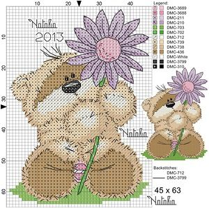 Fizzy Moon bear w/flower chart and photo...FREE on site....more charts on site