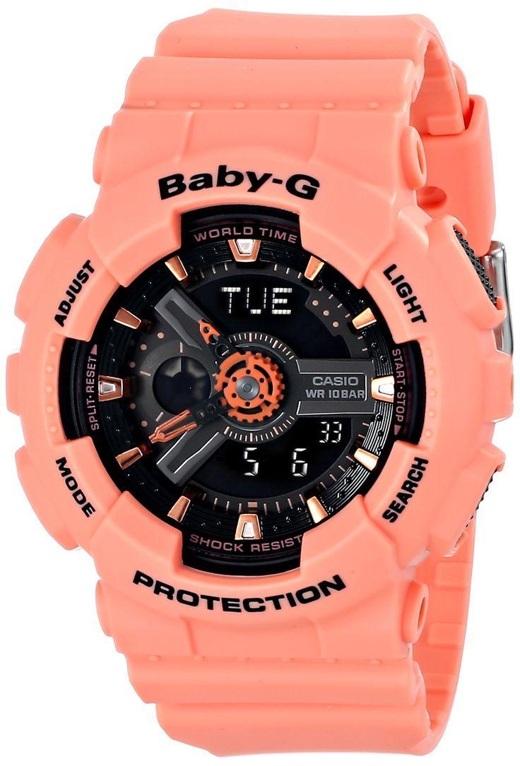 Casio Women's BA-111-4A2CR Baby-G Analog-Digital Display Quartz Orange Watch
