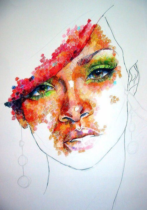 Rihanna, in felt tip pens. I really liked the effect I managed here, although it doesn't suit every subject.