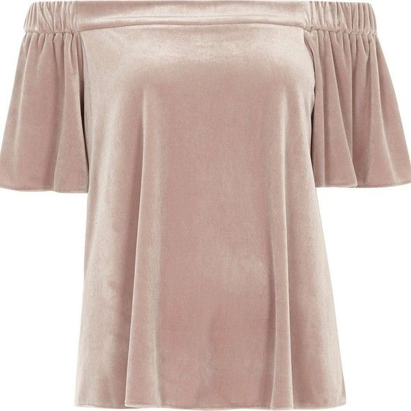 River Island Pink velvet bardot top (£28) ❤ liked on Polyvore featuring tops, pink, brown tops, relaxed fit tops, short sleeve tops, river island top and pink top