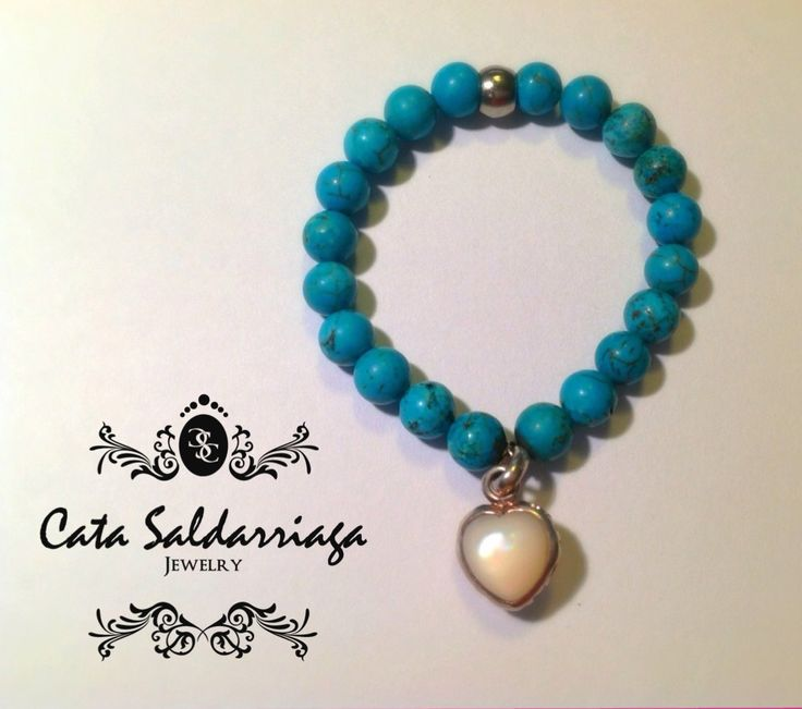 Turquoise Bracelet with Sterling Silver Pearl Charm by Cata Saldarriaga Jewelry.