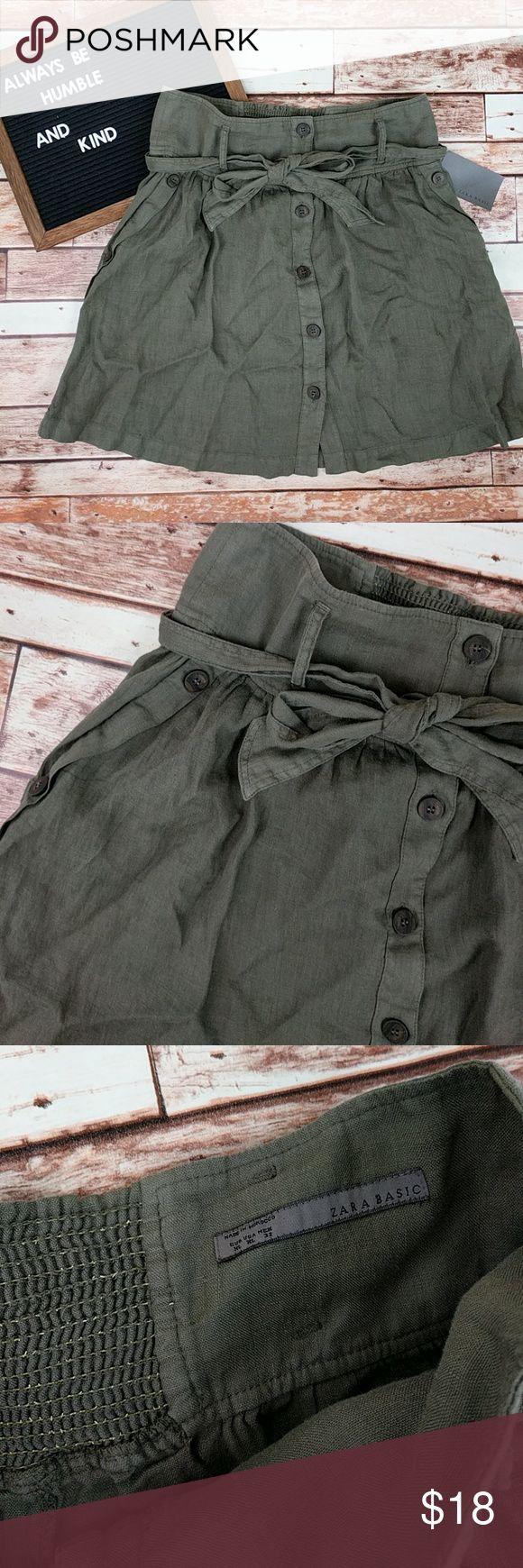 🆕 NWT Zara Linen Skirt NWT Zara Linen Skirt Size XL. Runs Small. Army Green. Zara Skirts