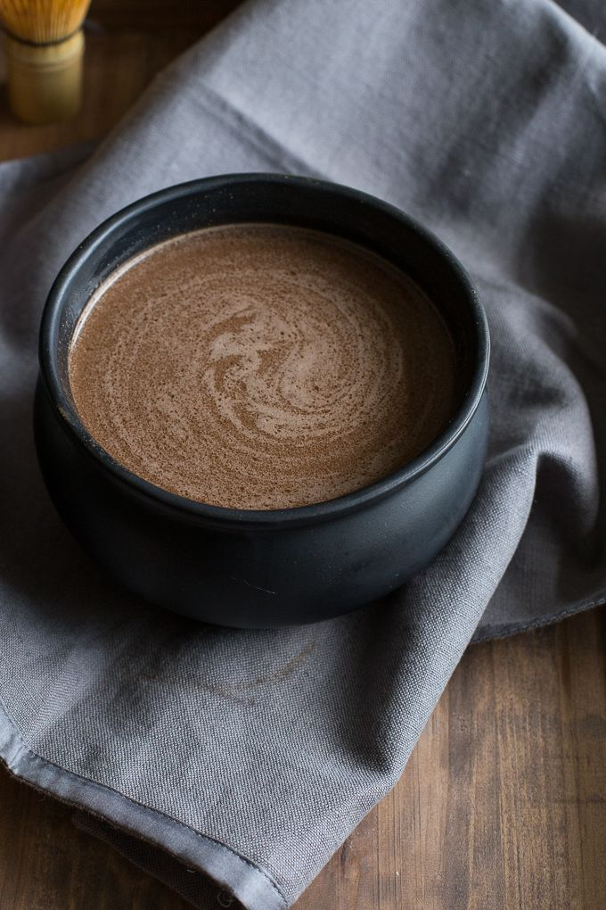 A warm morning brew made of almond milk steeped with cocoa, spices, maca and reishi mushrooms.