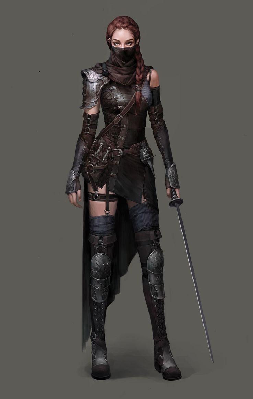 Assassin, ladin, thief, rogue, female, long hair, fantasy character, concept art, DnD , D&D, RPG Paladin by Si Woo Kim on ArtStation.