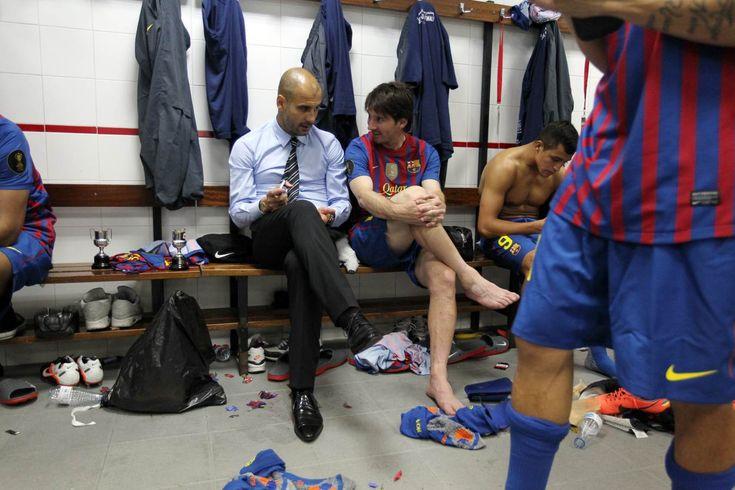 Guardiola i Messi, al vestidor després de la Copa. FOTO: MIGUEL RUIZ-FCB
