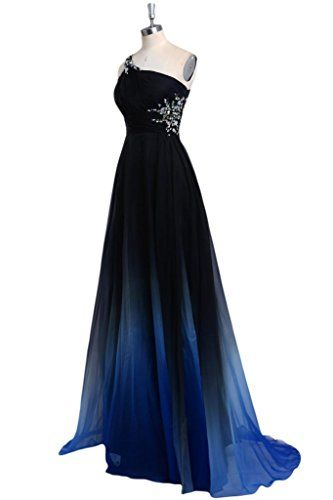 Audrey Bride 2015 Gradient Color Prom Evening Dress Beaded One-Shoulder Ball Gown   All Evening Dress