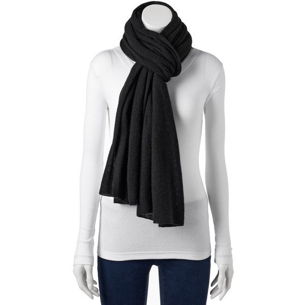 Apt. 9® Cashmere Pashmina Wrap Scarf ($63) ❤ liked on Polyvore featuring accessories, scarves, black, apt. 9, wrap shawl, stitched jerseys, oblong scarves and wrap scarves