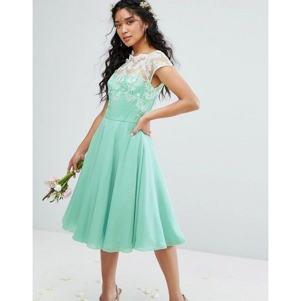 Chi Chi London Full Midi Dress With Metallic Embroidery ($115) ❤ liked on Polyvore featuring dresses, gowns, green, bridesmaid gown, green bridesmaid dresses, see through dress, chiffon bridesmaid dresses and green gown
