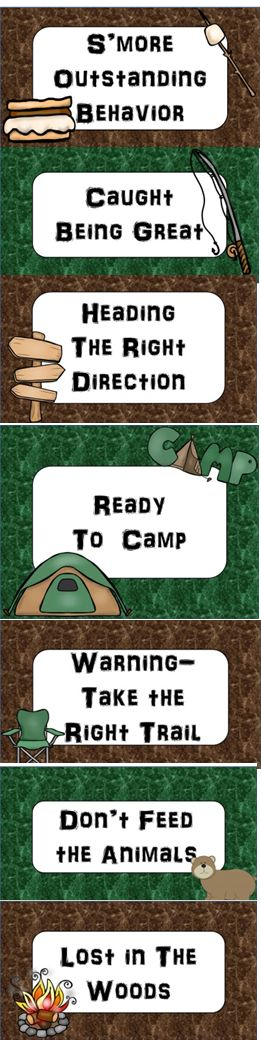 Camping Fun! Camping Themed Classroom Behavior Clip Chart