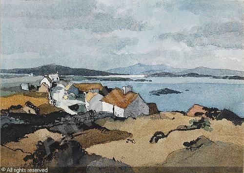 HILDER Rowland - Highland cottages; Cottages by a loch (2)