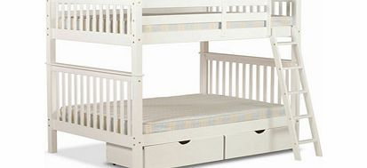 Amani Malvern 4 Sleeper Wooden Bunk Bed  4sleeper with 4FT 6 Double bed on top and 4ft 6 Double bed on the bottom Made from durable pine Beautiful white painted finish Sprung slatted base 2 x underbed storage drawers available Can be split http://www.comparestoreprices.co.uk/bunk-beds/amani-malvern-4-sleeper-wooden-bunk-bed.asp