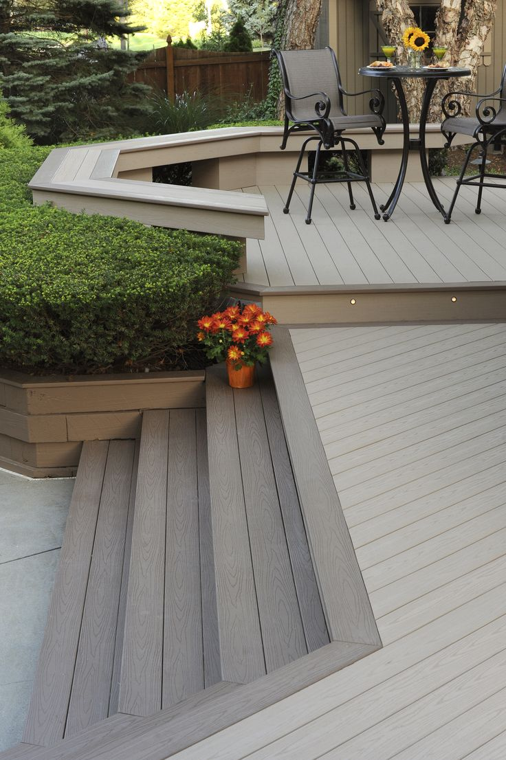 Deck Stair Ideas | Changing the deck board color on the steps gives the design visual interest and a unique style. | AZEK