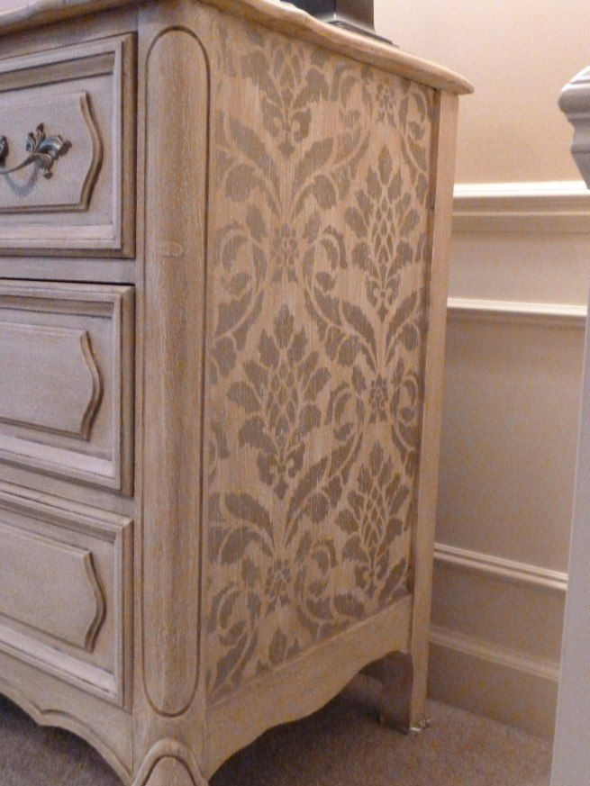 DIY Painted Dresser: This stencil on the side just adds to the charming character of the actual dresser itself!