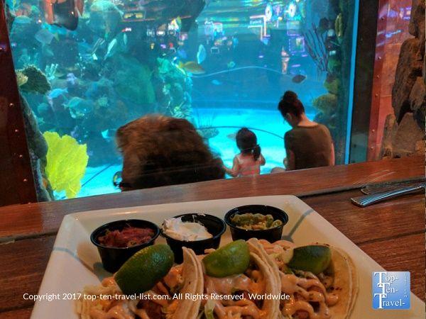 Delicious fish tacos at the Mermaid Restaurant at the Silverton in Las Vegas, NV