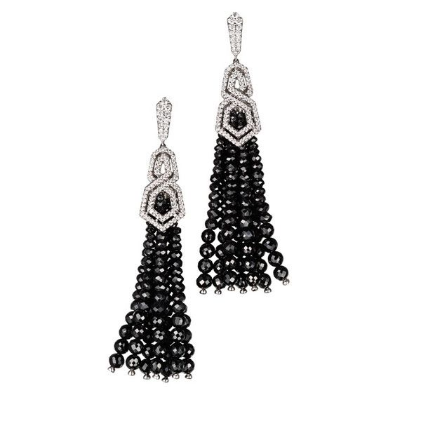 The London Collection from William & Son, London. Diamond earrings set in 18ct white gold with detachable black spinel tassels.
