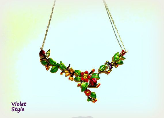 handmade Pendant composition of flowers ladybugs  by violettstyle, €38.52