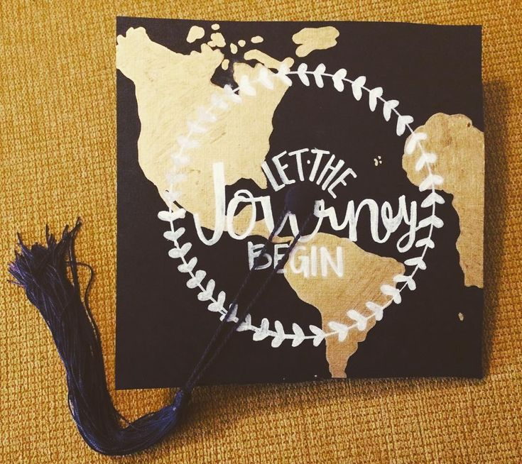 """Ta-da! First ever graduation cap under the belt. I just love custom orders! Shop the link in bio to start yours today #map #art #etsy #canvas…"""