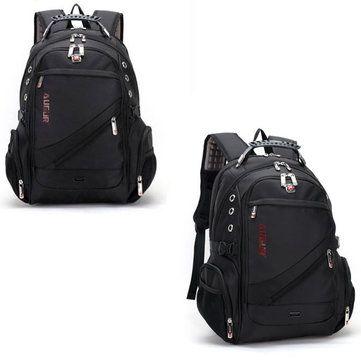 AUGUR Men Oxford Leather Waterproof Big Capacity Travel Outdoor Laptop Shoulders - US$53.19