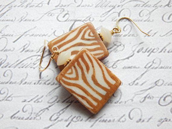 Bone Earrings  Animal Print Earrings  Wild Earrings  14K
